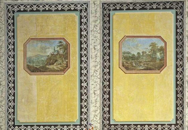 Detail der Papiertapeten im westlichen Zimmer von Schloss Favorite Ludwigsburg; Foto: Landesmedienzentrum Baden-Württemberg, Arnim Weischer