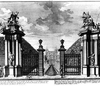 Der Kupferstich von 1727 zeigt das ehemalige Portal des Fasanengartens von Schloss Favorite Ludwigsburg