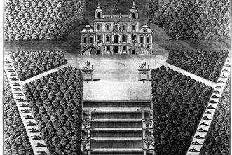 Aufriss von Park und Schloss Favorite in Ludwigsburg, Kupferstich um 1748
