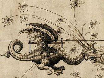 Schloss Favorite Ludwigsburg, Feuerwerksdrache, Zeichnung aus der Halinitro-Pyrobolia von Joseph Furttenbach
