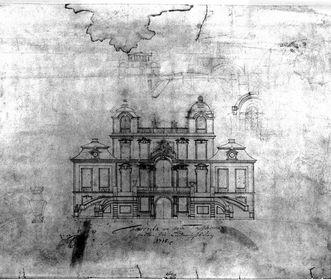 Federzeichnung von Schloss Favorite Ludwigsburg aus dem Jahr 1718