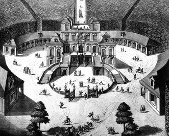 Entwurf Frisonis von 1727 zur Erweiterung von Schloss Favorite Ludwigsburg, Kupferstich